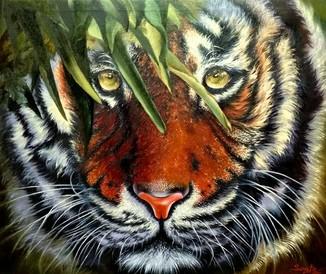 Тигр Шархан,3д холст 50*60 см,масло, ручная работа,оригинал
