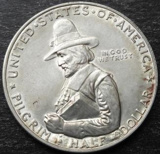 США , 12 доллара ( 50 центов ) 1920 г., '300 лет прибытию Отцов-пилигримов'