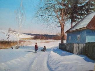 Зимний пейзаж с детьми на санках_30х40см.Журка М.