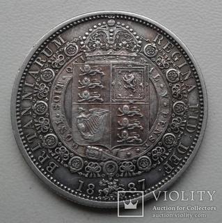 Великобритания 1/2 кроны 1887 г. серебро. 925 проба.