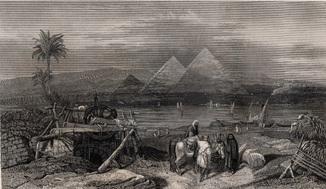 Старинная гравюра. 1837 год. Пирамиды в Бей Гизе. (24,8х18см.).