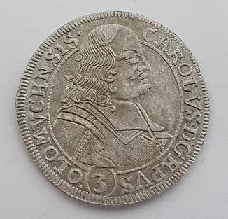 3 крейцера 1695 SAS Лихтенштейн-Кастелькорн (Епископство Оломоуц) Карл I №2