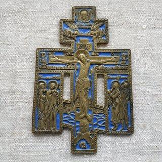 Киотный Крест с Предстоящими. Эмаль, бронза. 19 век. Россия.