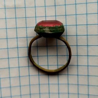 Перстень 16-17ст з червоним камнем, біметал