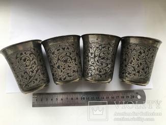 Набор серебряных стаканов 84 пробы с черню и золочением