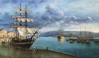 «Утро на пристани» холст масло 45х75 Борисенко