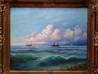 Корабли на море холст масло шикарная рама дерево 64 на 75 см