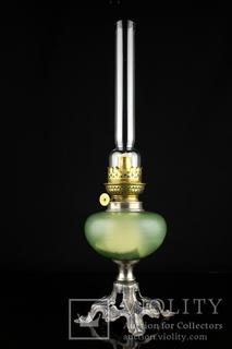Коллекционная керосиновая лампа со стеклянным корпусом. 490 мм. Винтаж. Европа. (0678)