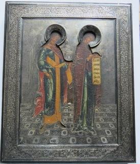 Икона Благовещение  Девы Марии в серебряном окладе, Москва,  1899 год.