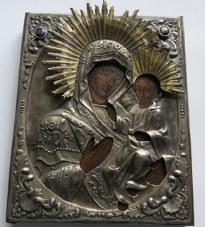 Икона Казанской Божия Матер, в серебряном окладе,Москва,1846 год.