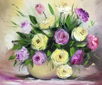 Картина «Букет роз» масло 50х60см