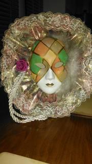 Винтаж: Интерьерная настенная маска из фарфора Венецианская