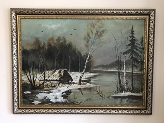 "Картина холст масло ""Заброшенный дом"" размер 50х70см."