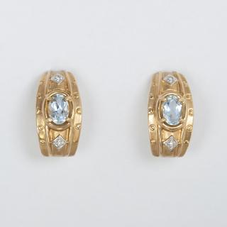 Винтажные золотые серьги с аквамаринами и бриллиантами