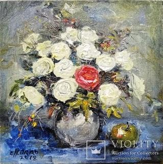 «Красная роза». Художник Ellen ORRO. холст на картоне/масло. 15х15, 2018 г.