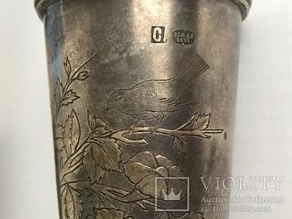 Свадебные Бокалы 1895 год с узорами серебро 84 (клейма мастера)