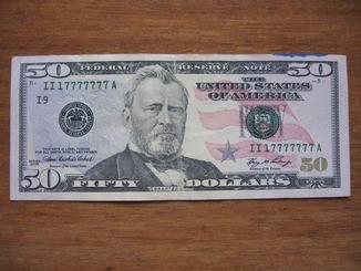 50 долларов с номером 17777777