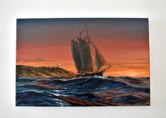 """Картина, масло, холст  """"В путь на рассвете""""  Морской пейзаж"""
