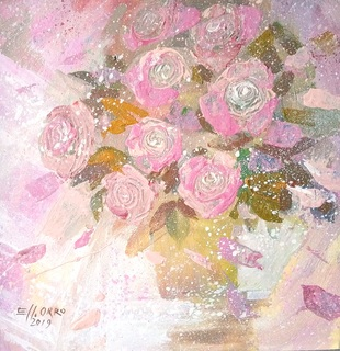 Картина «Розовые розы». Художник Ellen ORRO. двп/акрил. 25х25, 2019 г.