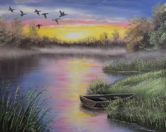 Картина, Вечер у реки, 50х40 см. Живопись на холсте