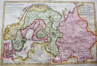 1770 Карта Северной России. Скандинавия. Европа. Ручная роспись