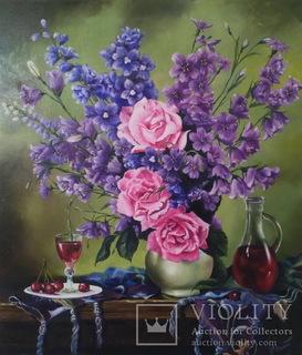 """Натюрморт с розами и вином"" масло, холст 70х60см"