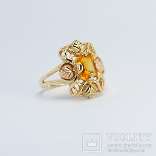 Золотое кольцо (10к) с натуральным цитрином