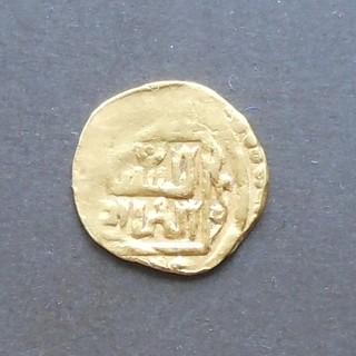 "Хорезм, 1/4 динара с титулами ""султан адил"" Токтамыша. Не датирован, 80-е годы 14 века."
