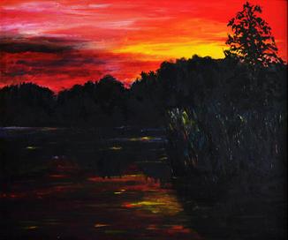 """""""Захід сонця"""" картина, акрил, 50Х60"""