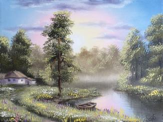 Картина Хатина біля річки, 30х40см. Живопис на полотні
