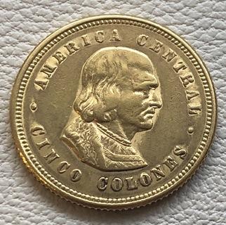 5 колонес 1900 год Коста Рика золото 3,85 грамма 900'