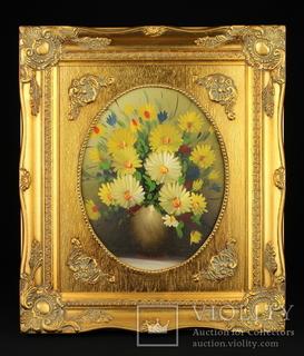 Цветочный натюрморт. Масло. Рама 390х335 мм. Европа (0720)
