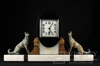 Каминные мраморные часы с фигурами собак. 10 кг. Marti. Франция (0705)