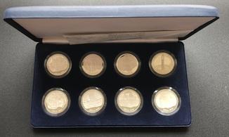 Набор серебряных монет 10 лат 1995-1998 годов. 800 лет Риге. Латвия. 8 монет по 31,1 грамм