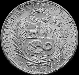 1 соль 1889 року, Перу, срібло