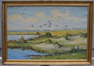 """Подписная картина Худ. S. Vilko """"Пейзаж""""."""