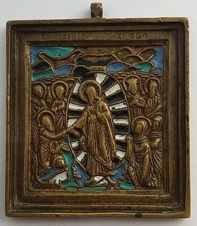 Икона Воскресение Христово, 19 век, эмали