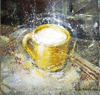 Картина «Чашка с молоком». Художник Ellen ORRO. холст/картон/акрил. 20х20, 2020. г.