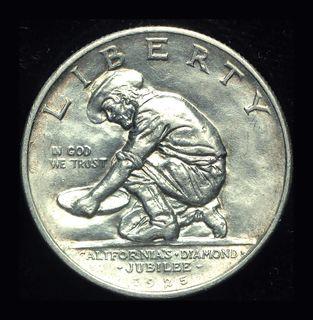 США 1/2 доллара 1925 S Unc серебро Калифорния Золотая лихорадка