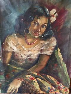 """Мартон Адальберт """"Цыганка"""",1954 .. 55х73см. х.м.  Экспертиза"""