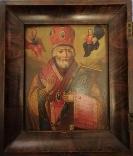 Икона Святого Николая Чудотворца конец 19-го века.