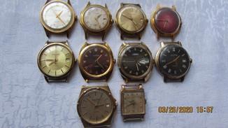 Лот позолоченные часы СССР 10 шт