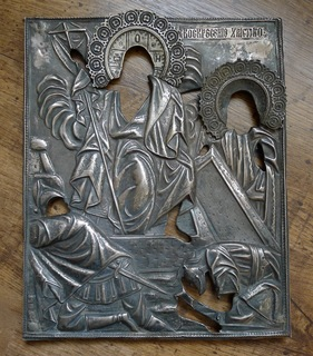 Кованый серебряный оклад 84 проба. Воскресение Христово. Торговый дом ''И.В Захарова сыновья''