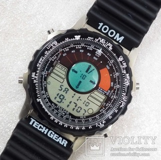 Часы Pulsar W800 TechGear Compass Pilot watch, 1992 г, NOS