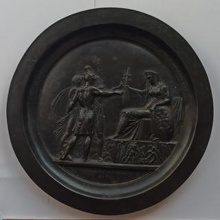 Медальон(тарелка)по эскизу Ф.Толстого «Народное ополчение» чугун, касли1905 год