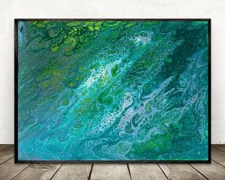 Зеленый флюид 4 (акрил/холст) 30х40х1 см