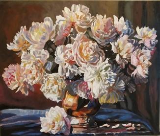 Белые цветы,2019,холст,акрил65*60торцы записаны