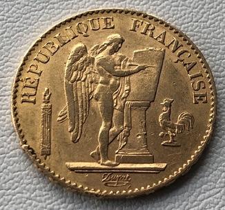 20 франков 1877 год Франция золото 6,45 грамм 900'