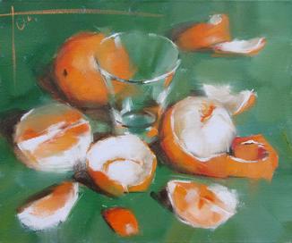 """Голубятникова Я.В. """"Апельсины на зеленом"""" 33см х 40см"""