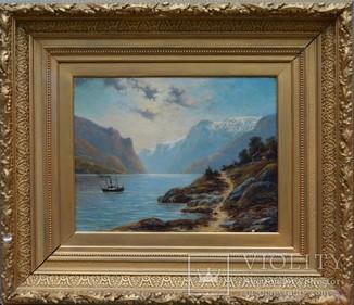 "Подписная картина Худ. Hardnack O. M. ""Пейзаж"" 1891."